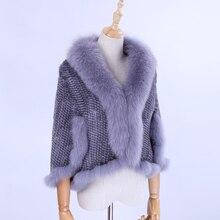 Роскошная Новая натуральная вязаная норковая шаль накидка с воротником из меха лисы тримминг Женская норковая шуба куртка палантин Amice