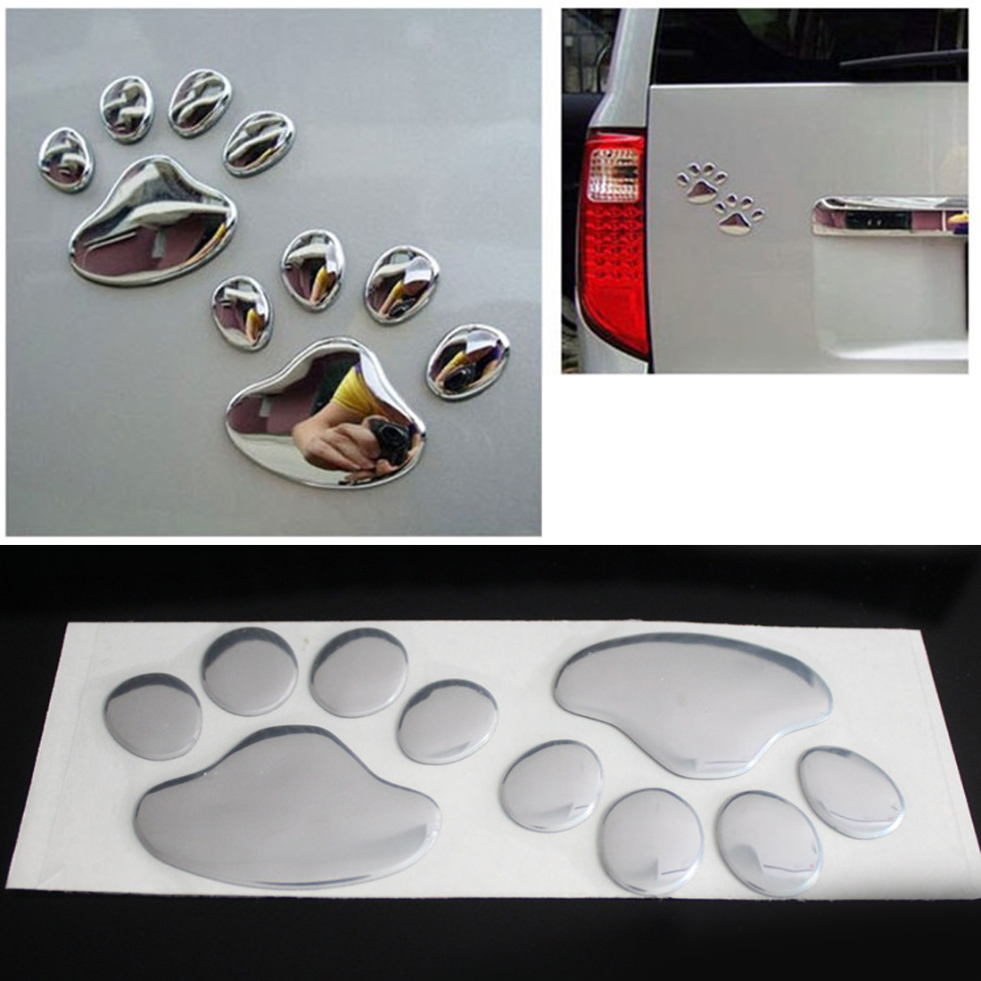 Dewtreetali Car Sticker Cool Design Paw  3D Animal Dog Cat Bear Foot Prints Footprint 3M Decal Car Stickers  Silver Gold Pair