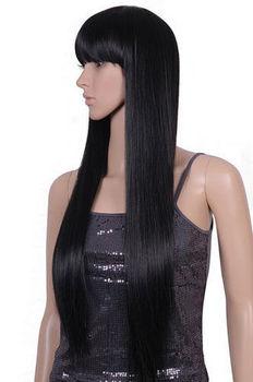 LIBERA LA NAVE>>> parrucca Nera lunga parrucca nera lunga 70 centimetri