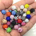 100pcs/lot 10mm Shamballa Bead Charm Clay Pave Rhinestone Crystal Shamballa Bead Pendant  for DIY Necklace Earring Mixed Color