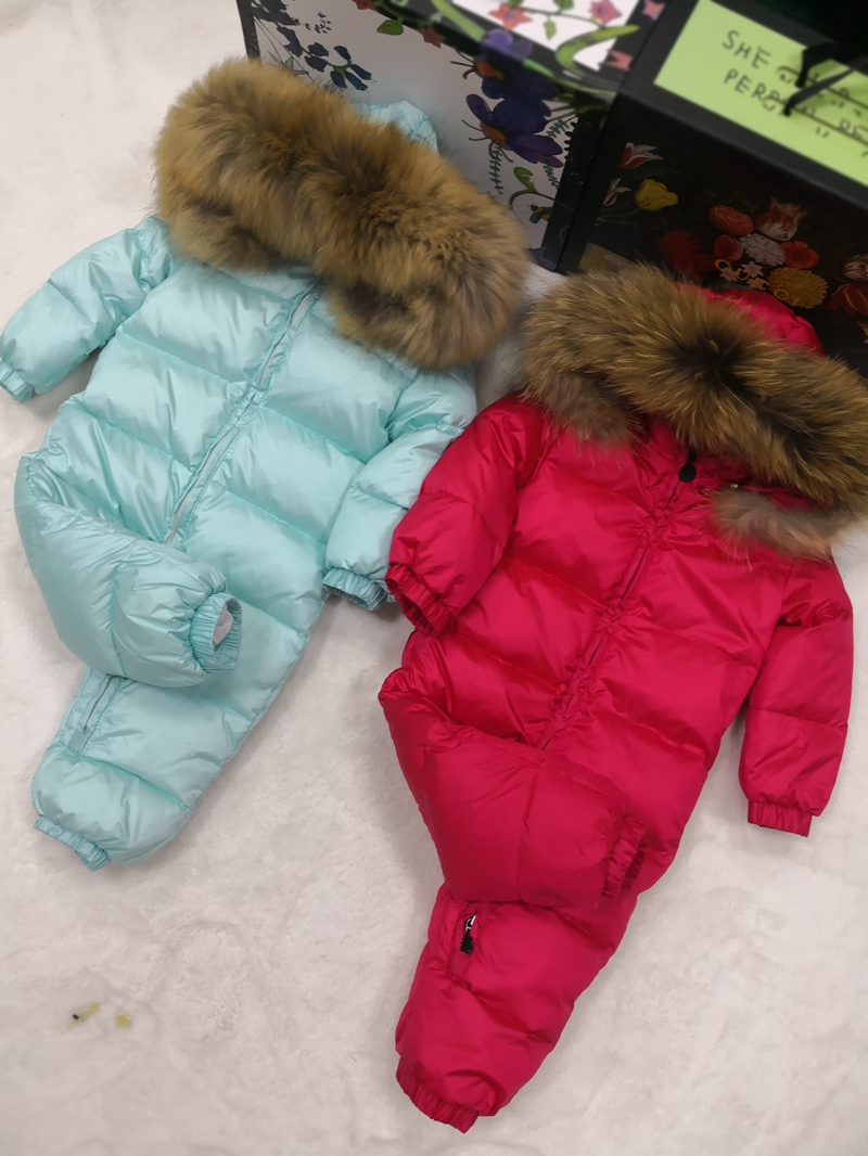 Real Fur Hooded 2018 Winter Jacket Child Jackets Children Jumpsuit Snow Suit Girl Floral Limbing Down Romper Ski Suits Outerwear