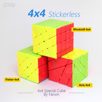 Fanxin Axis Fisher Windmill 4x4 Cube Stickerless 4x4x4 Magic Cubes Higth Diffuclty Professional Specail Puzzle Toys for Children