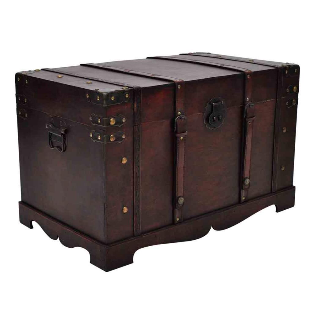 Fantastic Vintage Large Wooden Treasure Chest Jewellery Storage Box Case  MW62