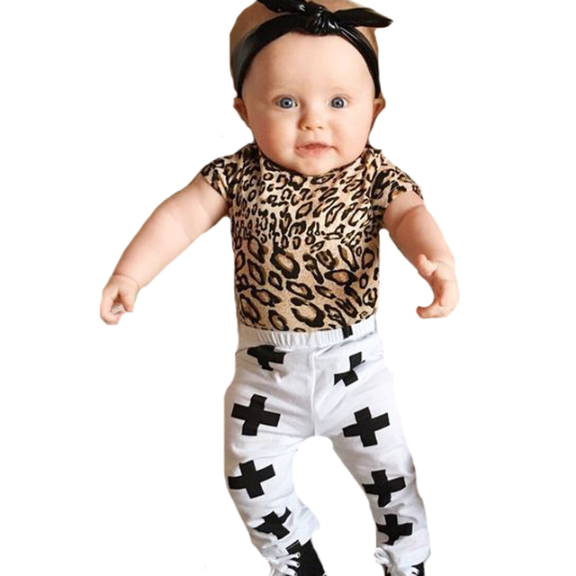 9021c9fb7 Baby Clothing Set Fashion Short-sleeved Leopard T Shirts+Cross Pants 2pcs  Boy Girl