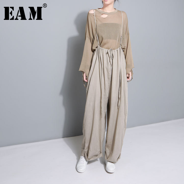WKOUD EAM 2018 New Summer Autumn High Waist Drawstring Loose Big Size Long Wasy Wearing   Wide     Leg     Pants   Women Trousers Fashion