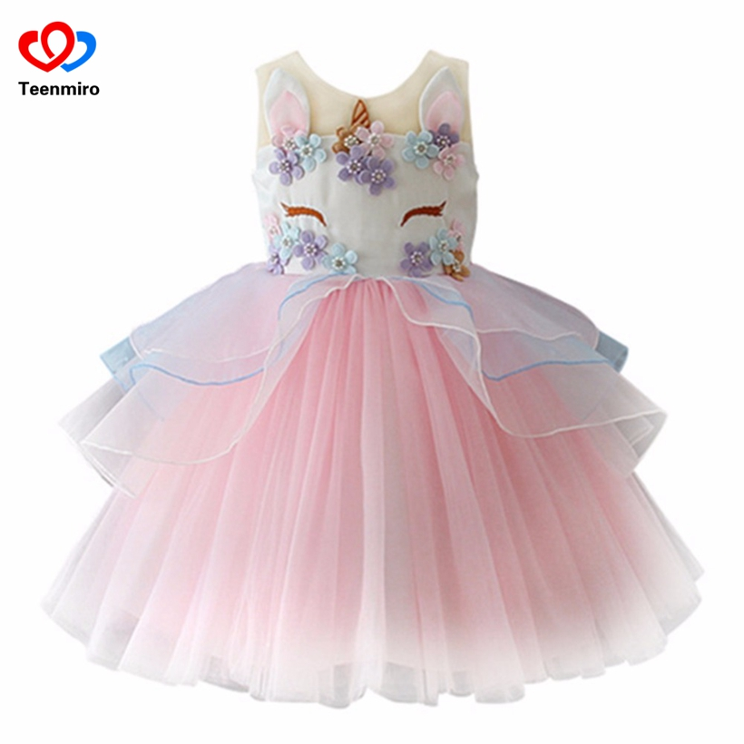 2018 Unicorn Dress for Girls Kids Princess Dresses for Wedding Party Children Clothing Embroidery Ball Gown Robe Fille Cosplay fall girls princess dress set kids mesh vest robe and long sleeve t shirt 2pcs suit ball gown party clothing for 4y 14y