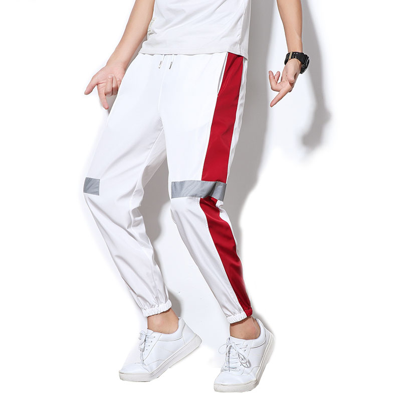 New Summer Thin Side Stripe Pants Hip Hop Reflective Pant Drawstring Sweat Trousers Men 5XL Harem Joggers
