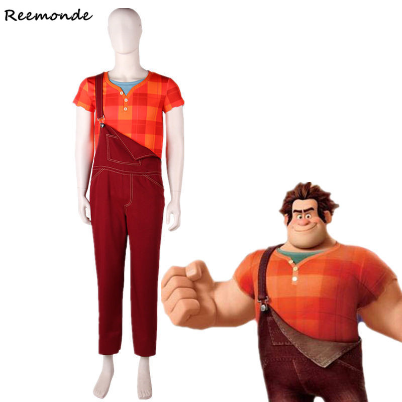 Movie Ralph Breaks the Internet Wreck-It Ralph 2 Cosplay Costume Top Jumpsuit Rompers Party For Adult Man Boys Leisure clothes