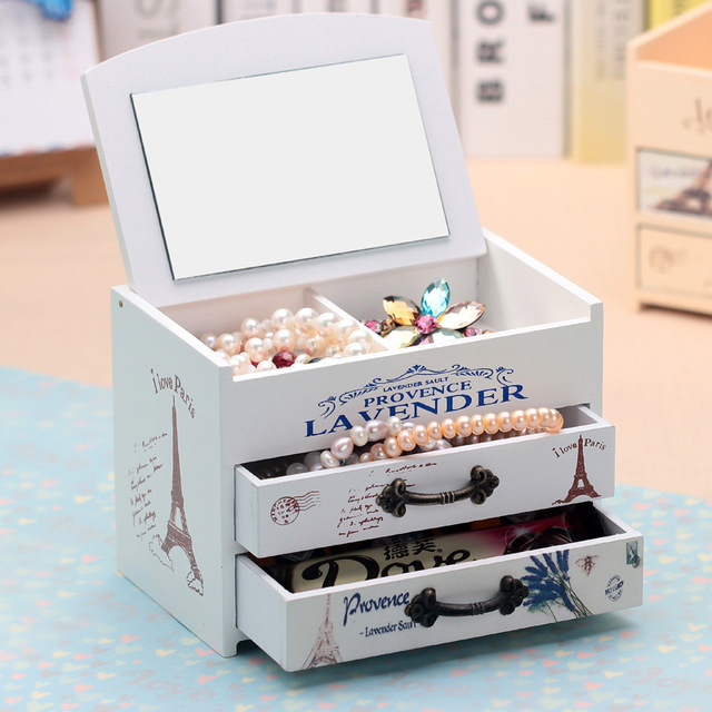 Genial Wood Jewelry Make Up Storage Boxes Fashion Double Sundries Wooden Case  Rectangle Cosmetic Organizer Lipstick Storage