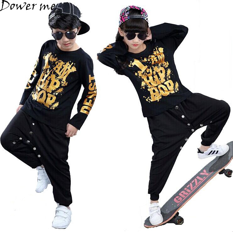 Black Boys Girls Hip Hop Dance Wear For Kids With Gold Print Cotton Brand Top Pant 2 Pieces Children Stage Costumes Tracksuit