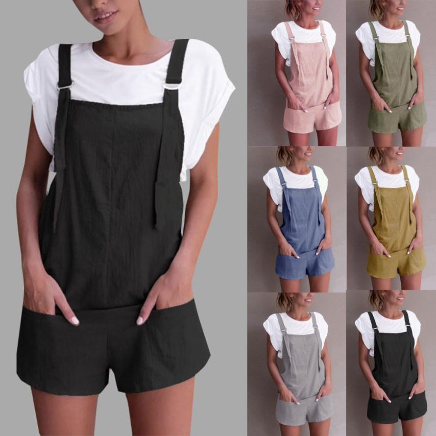 Women Elastic Waist Dungarees Linen Cotton Pockets Rompers Playsuit Shorts Pants jumpsuits for women 2018 women rompers catsuit ...