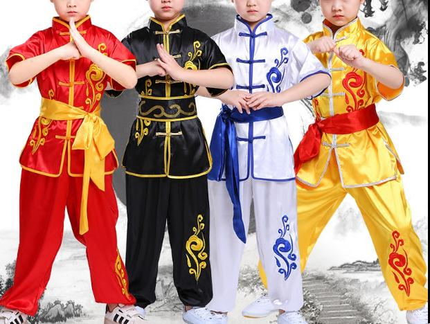 Summer Kids&Adult Embroidery Flower Martial Arts Kung Fu Uniforms Children Wushu Clothing Tai Chi Suits Red/yellow/blue/black