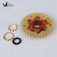 Sunshine Cog Bicycle Freewheel 10 Speed MTB 36T Mountain Bike Freewheel 10S Cassette 11-36T Ultralight 392G Hollow Design Golden