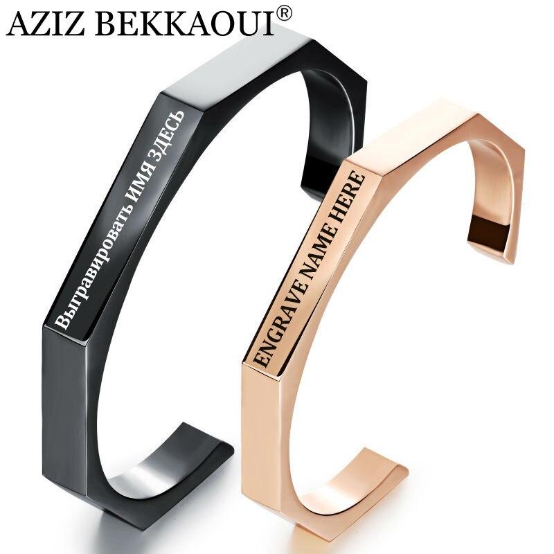 Name Brand Bracelets: AZIZ BEKKAOUI Cuff Bracelet Rose Gold Open Bangles For