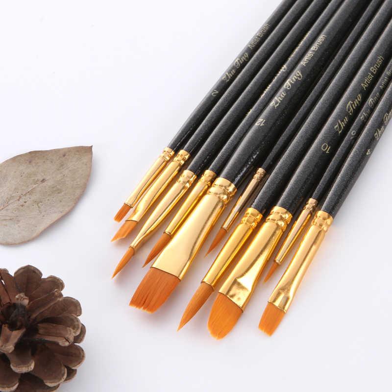 Pintura al por mayor 10 Uds pintura para el cabello de nylon pinceles artista aceite pincel para pintar con acuarelas para aprender aceite acrílico arte suministros