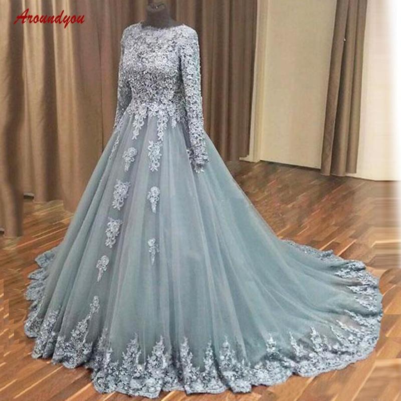 Long Sleeve Lace   Evening     Dresses   Party Plus Size A Line Women Ladies Formal   Dresses     Evening   Gown