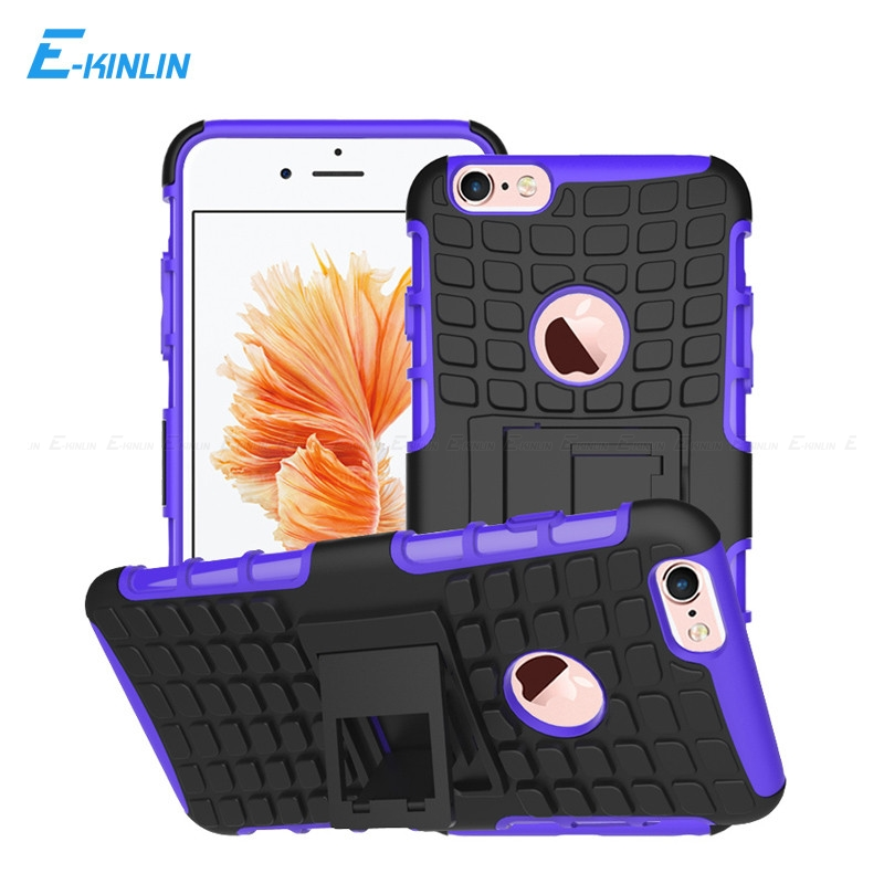 Tough Heavy Duty Soft TPU Hard Cover For iPhone 6 6S 7 8 Plus X 10 Ten 5 5S SE Shockproof Rugged Kickstand Armor Hybrid Case