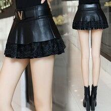 Юбка из искусственной кожи, прошитая юбка, Новая женская тонкая кружевная юбка