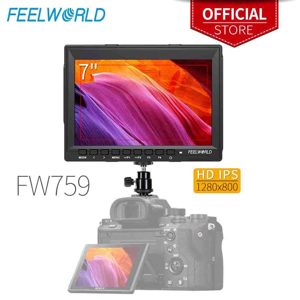 """Feelworld FW759 7 Cal IPS 1280×800 kamery dziedzinie Monitor podglądowy do lustrzanek DSLR z osiągając skupić się HD 7 """"Monitor LCD do BMPCC Canon Sony"""