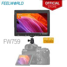 """Feelworld Monitor de vídeo FW759, 7 pulgadas, IPS, 1280x800, cámara de campo, DSLR, con enfoque máximo, HD, 7 """", LCD, para BMPCC, Canon, Sony"""