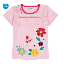 JUXINSU Cotton Girls Short Sleeve T-shirt Flower Butterfly Embroidery Tees for 1-7 Years Clothes