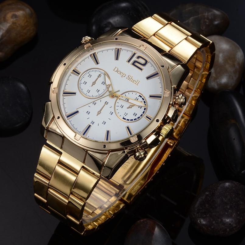 Deepshell Men Watch Top Brand Luxury Leather Engraved Dial Military Watches Clock Male Erkek Kol Saati Relogios s9