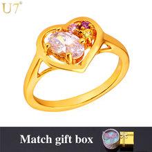 U7 Brand Romantic Cubic Zirconia Heart Rings For Women Wholesale Gold Color Engagement Ring R433(China)