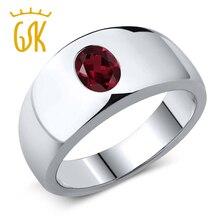 1.40 ct vs rhodolite oval rojo granate natural anillo esterlina del sólido 925 anillo de plata de los hombres clásicos gemstoneking