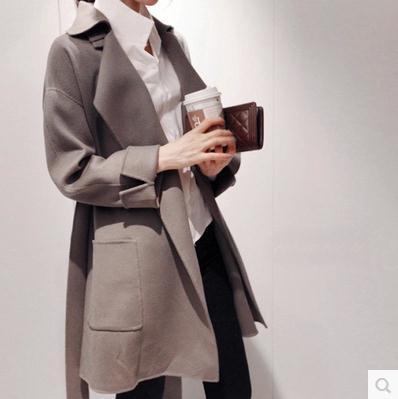 Cap 2018 Automne Réglable Color Taille Printemps Long Picture Col Ceinture Laine Large Haute Femmes Cjj0098 Rabattu Manteau YwtORX