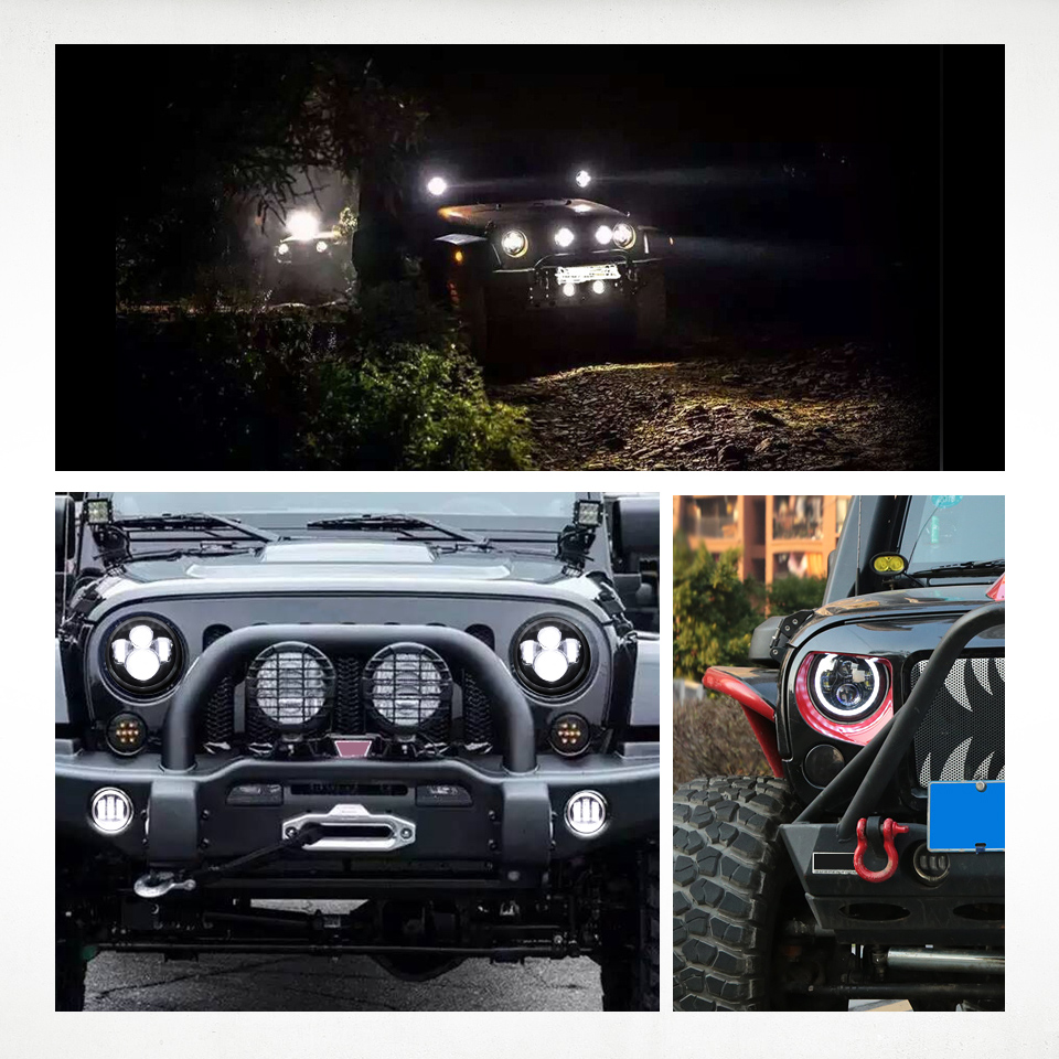 Image 5 - 7 inch LED Headlight Off Road 4x4 Running LightsHeadlamp Hi/Low Beam Halo Angle Eyes DRL 12V For Jeep Wrangler TJ 1997 2005 2006-in Car Light Assembly from Automobiles & Motorcycles