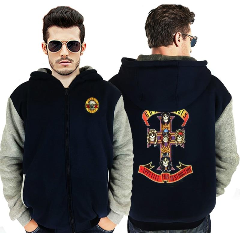 Dropshipping 2017 Guns N Roses Mens Hoodie Jacket Zipper Sweatshirt Winter Warmth Fleece Thicken Jacket Hoodies Coat