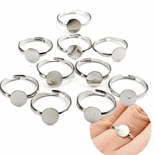 100PCS/1 set 10mm Silver Plated Adjustable Flat Ring Base Bl