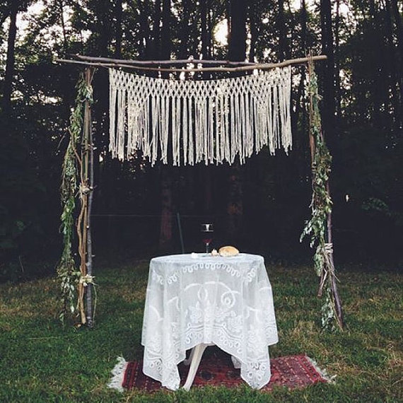 114cm X 66cm Macrame Altar Hanging For Rustic Outdoor Wedding Ceremony Decor