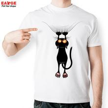 Orange Eye Black Cat Cling To Curtain T Shirt Style Cool Fashion T shirt Casual Novelty
