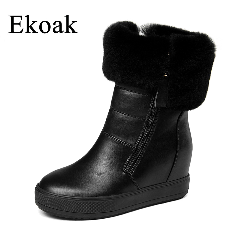 Ekoak Fashion Rabbit Fur Snow Boots Winter Women Boots Ladies Double Zips Warm Plush Ankle Boots Wedges Platform Shoes Woman