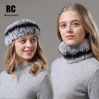 [Rancyword] Women Headband Winter Knit Natural Rex Rabbit Fur Headbands For Girls Real Fur Neck Scarf Hair Neckwarmer RC1373