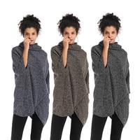 Women's autumn and winter new European and American high collar irregular cape jacket bat sleeve knitted sweater