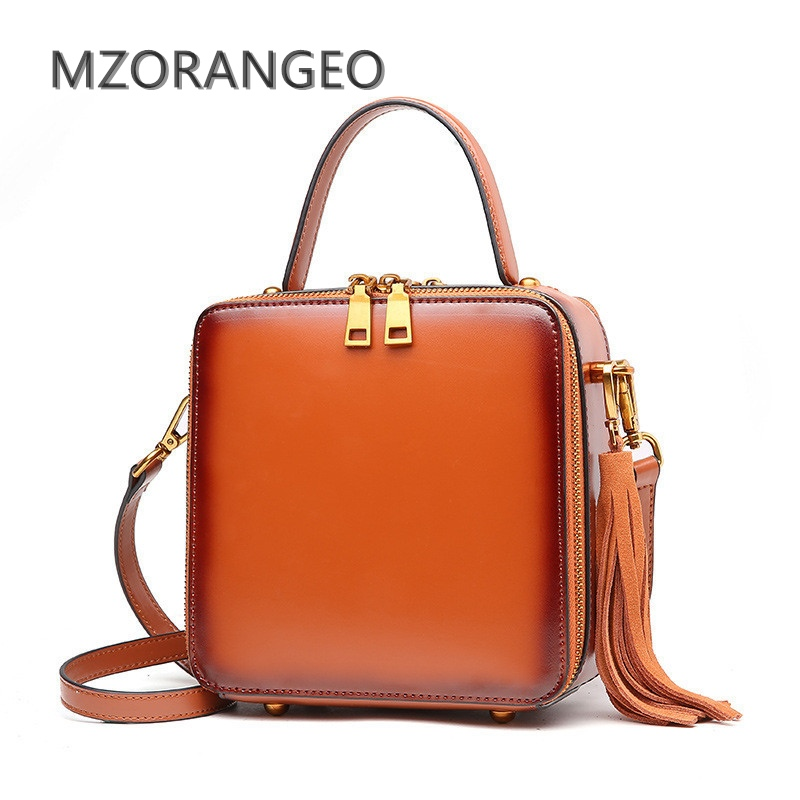 MZORANGEO genuine Leather Vintage Women Flap Bag Fashion Tassel Handbag simple design brand Lady Shoulder Bag messenger bag 2017 miyahouse fashion colorful tassel design messenger bag women double zipper small shoulder bag female canvas lady flap bag