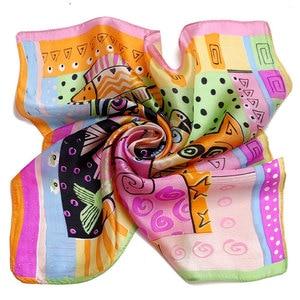 Image 4 - 100% Silk Scarf Women Scarf Cat Scarf Silk Big Bandana 2019 Hijab Print Cat Fish Middle Square Silk Scarf Wrap Hot Gift for Lady