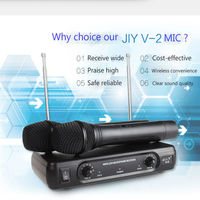 JIY Professional karaoke Dual Wireless Microphone mixer audio MIC radio handheld studio Microphones for meeting karaoke computer