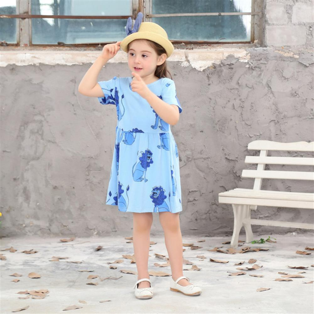 2018 New Summer Kids Clothes Cartoon Animal Casual Girls Dresses 2 3 4 5 6 7 8 Year Children Clothing A-line Toddlers Costume