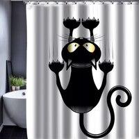 Diseño caliente Del Gato de Dibujos Animados Baño Cortina de Ducha Impermeable de Tela de Poliéster 150*180 cm 12 Ganchos