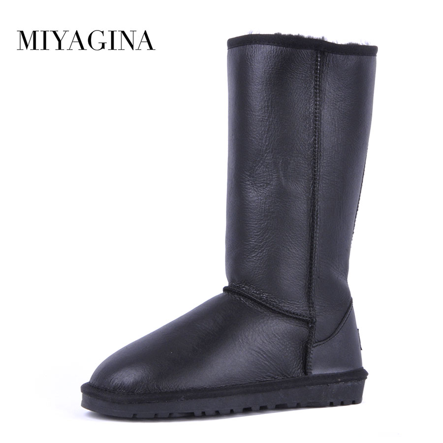 Top Quality New Fashion Waterproof Genuine Sheepskin Leather Snow Boots Winter Natural Fur Boots For Women Real Wool Long Boots top quality fashion women ankle snow boots genuine sheepskin leather boots 100% natural fur wool warm winter boots women s boots