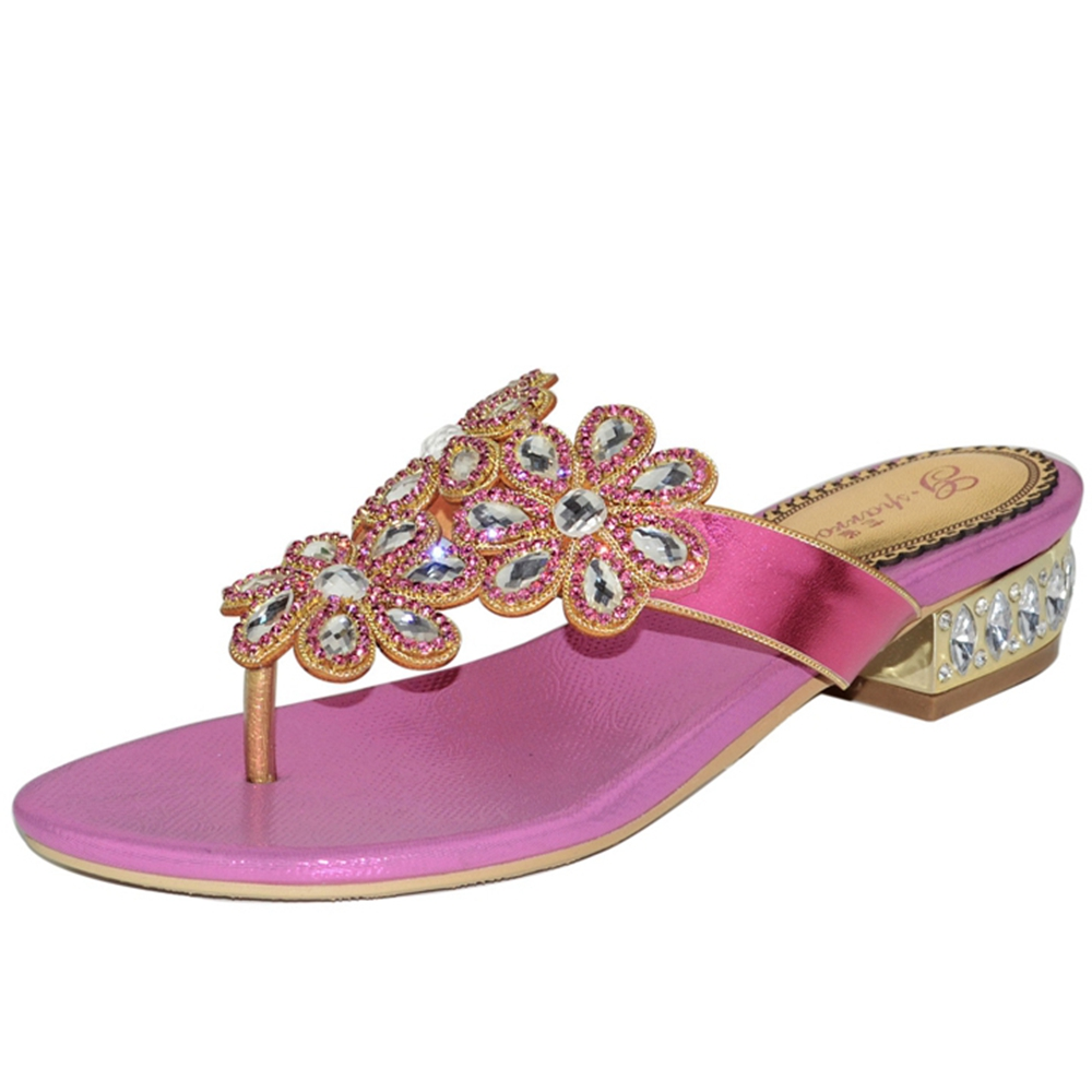 Popular high quality nice Slippers women shoes genuine leather rhinestone female Slippers women dress shoes