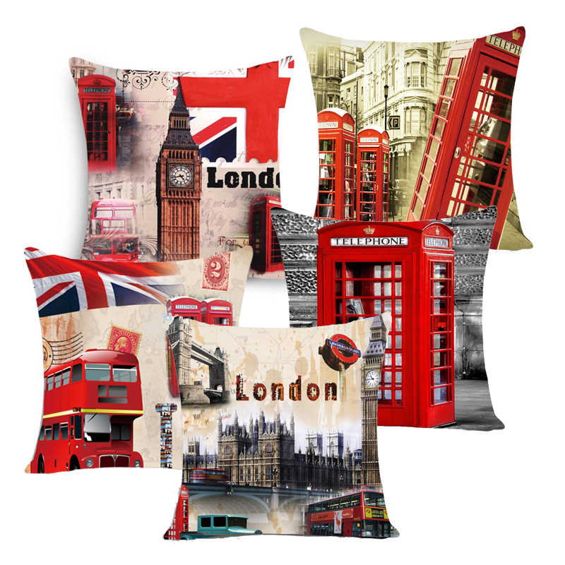 City style london /paris/NEW YOUK printed cushion cover linen /polyester throw pillow case cushions for home Decor sofa 45x45cm