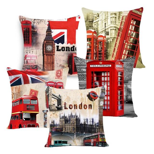 Città di stile london/parigi/NUOVO YOUK stampata cuscino copertina in lino/polie
