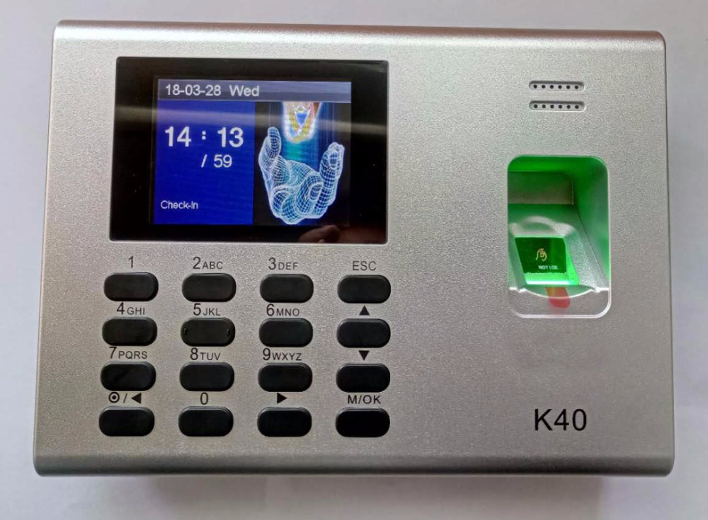 ZKteco K40 Network Fingerprint Time Clock With Access Control Terminal Free Software Built-in Battery