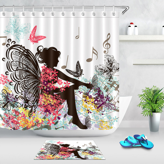 Lb red butterfly fairy girl with black wings sings in pink flower lb red butterfly fairy girl with black wings sings in pink flower shower curtain polyester fabric mightylinksfo