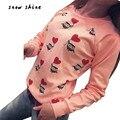 Snowshine #2001 Женщины С Длинным Рукавом Симпатичные Сова Печати weatshirts Топ Повседневная Блузка Рубашка бесплатная доставка