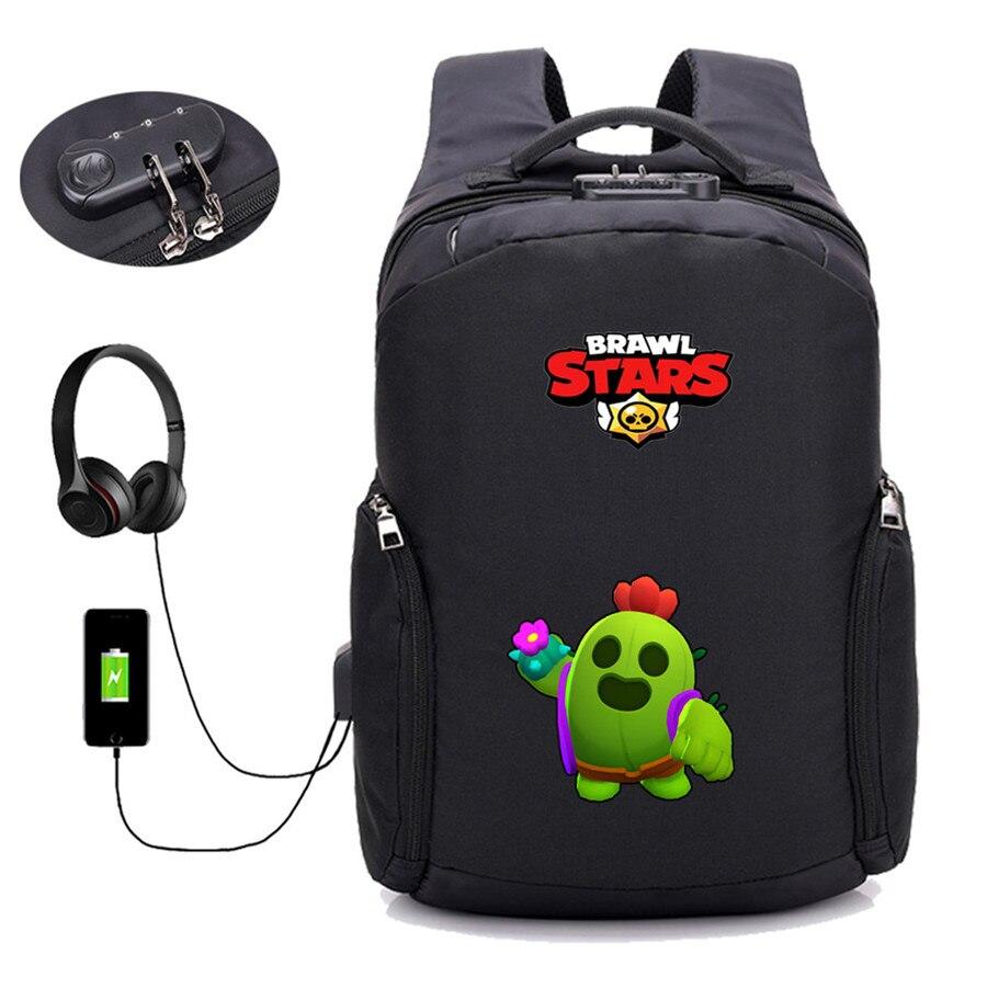 Jeu bagarre étoiles sac à dos USB charge Anti-vol sac à dos étudiant bookBag femmes hommes adolescent voyage paquet